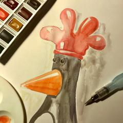 Feathers McGraw Watercolor