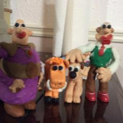 Wallace, Gromit, Lord Nooth and Hobnob