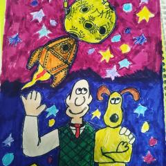 Wallace and Gromit Look Up at the Stars